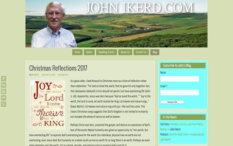 Screenshot of Blog johnikerd.com - John Ikerd's Blog   John Ikerd.com - captured Jan. 29, 2018