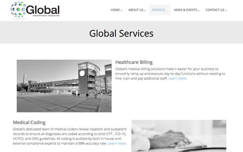 Screenshot of Services Page globalhealthcareresource.com - Global Healthcare Resource  | Global Services - captured July 19, 2018