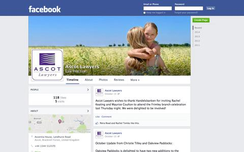 Screenshot of Facebook Page facebook.com - Ascot Lawyers - Ascot, Bracknell Forest, United Kingdom - Law Practice   Facebook - captured Oct. 23, 2014