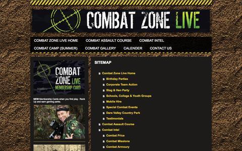 Screenshot of Site Map Page combatzonelive.co.uk - Combat Zone Live - captured Sept. 30, 2014