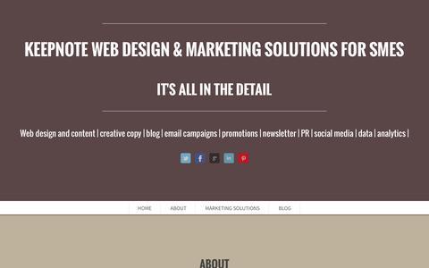 Screenshot of Home Page keepnote.co.uk - KEEPNOTE MARKETING an integral marketing solution for SMEs   KEEPNOTE Web Design & Marketing Solutions for SMEs - captured Sept. 30, 2014