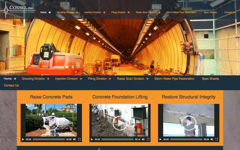 Screenshot of Home Page conselinc.com - Cosel Inc. Concrete Structure and Foundation Repair in Florida – Commercial Concrete Pool, Foundation and Wall, Tunnel, Bridge Repair - captured July 15, 2016
