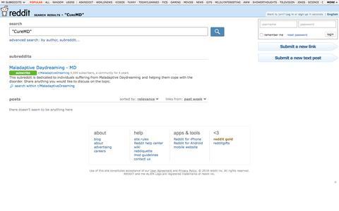 "reddit.com: search results - ""CureMD"""