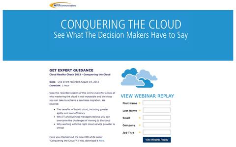 Screenshot of Landing Page ntt.com - NTT Communications - Cloud Reality Check Live Insights Webinar Registration 6.22.15 - captured March 1, 2017