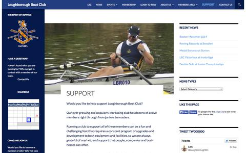 Screenshot of Support Page loughboroughboatclub.co.uk - Support - Loughborough Boat Club - captured Sept. 30, 2014