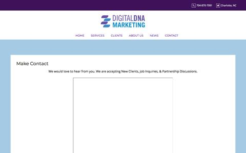 Screenshot of Contact Page digitaldnamarketing.com - Make Contact - Digital DNA Marketing - captured July 12, 2019