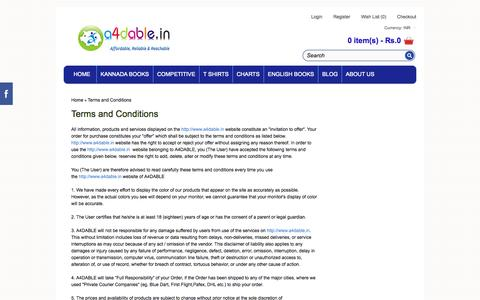 Screenshot of Terms Page a4dable.in - Terms and Conditions - captured Oct. 4, 2014