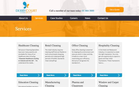 Screenshot of Services Page derrycourt.ie - Services, Our complete range of contract cleaning services, Derrycourt Cleaning Specialists - captured Oct. 5, 2014