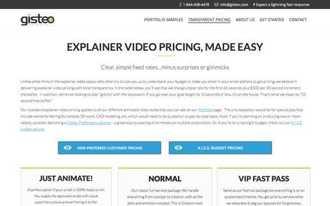 Screenshot of Pricing Page gisteo.com - Explainer Video Pricing & Animated Video Prices | Gisteo - captured July 18, 2018