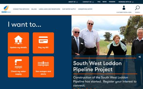 Screenshot of Home Page gwmwater.org.au - Home - GWMWater - captured July 15, 2018