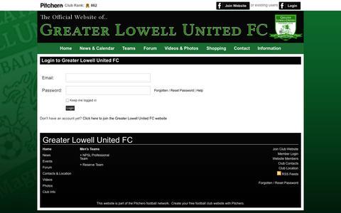 Screenshot of Login Page glufc.com - Login - Greater Lowell United FC - captured Nov. 2, 2014