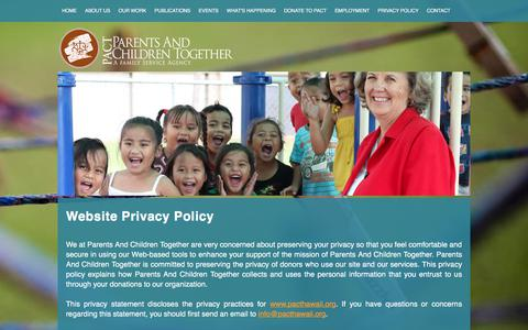 Screenshot of Privacy Page pacthawaii.org - PACT Parents and Children Together, Family Service Agency, Hawaii Non Profit, Community, Social, Educational Services - captured July 14, 2017