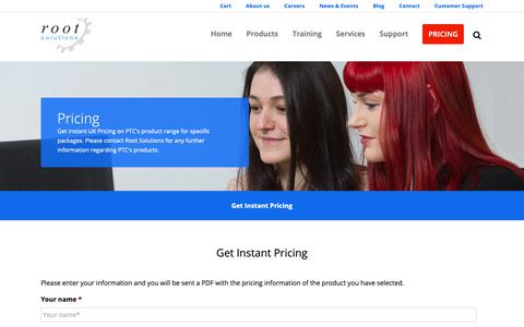 Screenshot of Pricing Page root-solutions.co.uk - PTC UK Pricing | Root Solutions | UK PTC Partner - captured Oct. 18, 2018