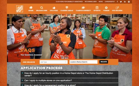 Screenshot of FAQ Page homedepot.com - FAQs - Home Depot Careers - captured Jan. 15, 2017