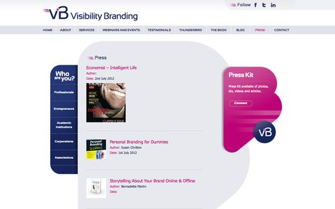 Screenshot of Press Page visibilitybranding.fr - Press | Visibility Branding - captured Oct. 9, 2014