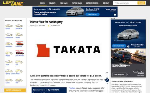Screenshot of leftlanenews.com - Takata files for bankruptcy - LeftLaneNews - captured June 26, 2017