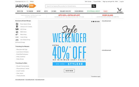 Screenshot of Home Page jabong.com - Online Shopping India: Shop Shoes, Clothing, Bags, Watches Online in India - captured July 11, 2014