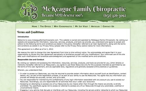 Screenshot of Terms Page mckeaguefamilychiropractic.com - Terms and Conditions | McKeague Family Chiropractic - captured Oct. 27, 2014