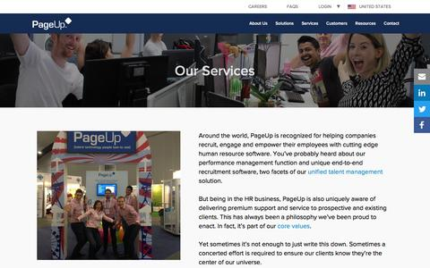 Screenshot of Services Page pageuppeople.com - PageUp's Services - Pre & Post Sale Support for Your Business - captured May 9, 2017