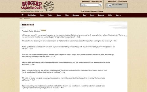 Screenshot of Testimonials Page smokehouse.com - Testimonials - Burger's Smokehouse - captured Nov. 18, 2016