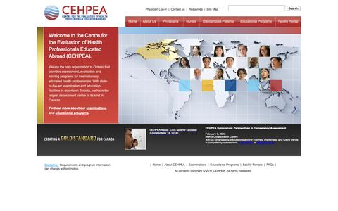 Screenshot of Home Page cehpea.ca - Centre for the Evaluation of Health Professionals Educated Abroad (CEHPEA) - captured Oct. 2, 2014