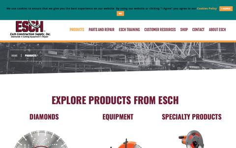 Screenshot of Products Page eschsupply.com - Find Your Products   Esch Construction Supply, Inc. - captured Sept. 29, 2018