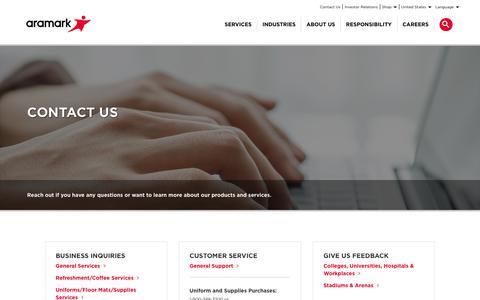 Screenshot of Contact Page aramark.com - Contact Us | Aramark - captured March 14, 2018