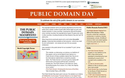 Screenshot of About Page publicdomainday.eu - About | Public Domain Day - 1 January 2012 - captured June 10, 2016