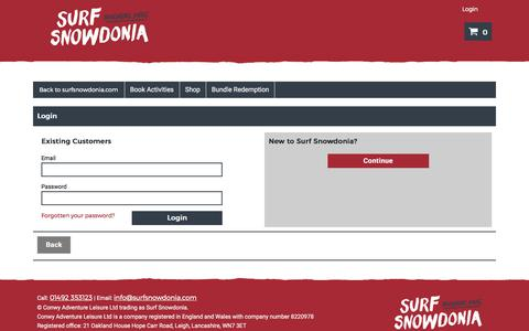 Screenshot of Login Page surfsnowdonia.com - Login - Surf Snowdonia - captured Aug. 8, 2017