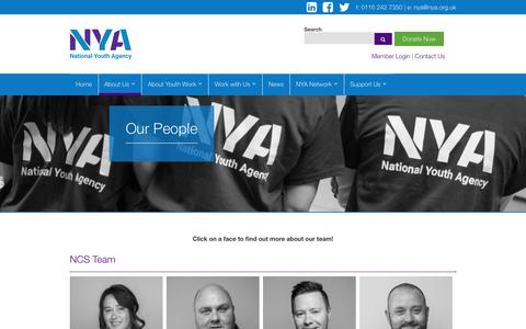 Screenshot of Team Page nya.org.uk - Our People - NYA - captured Oct. 18, 2018