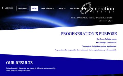 Screenshot of Home Page progenerationenergy.com - Progeneration energy – BUILDING ENERGY INTO YOUR BUSINESS - captured May 23, 2017