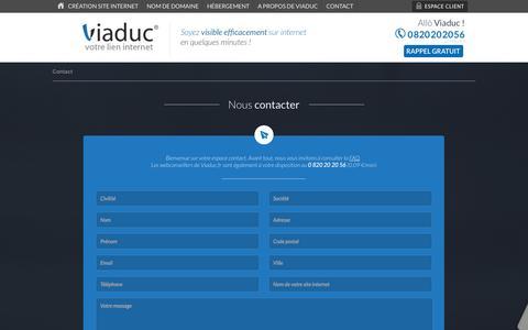 Screenshot of Contact Page viaduc.fr - Contactez les équipes Viaduc spécialisées en création de site internet. - captured Sept. 19, 2014