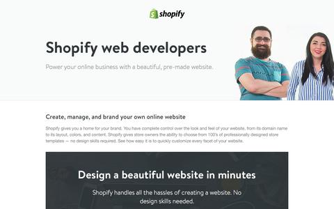 Screenshot of Landing Page shopify.com - Ecommerce web developers - website development companies. - captured Oct. 15, 2016