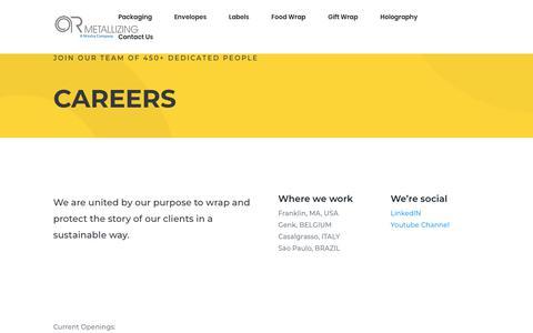 Screenshot of Jobs Page armetallizing.com - Careers | AR Metallizing - captured July 28, 2018