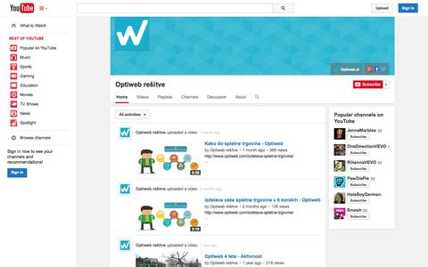 Screenshot of YouTube Page youtube.com - Optiweb rešitve  - YouTube - captured Oct. 26, 2014