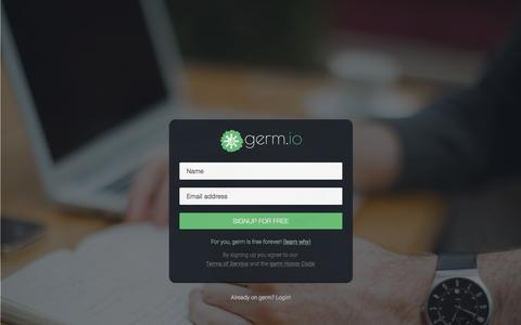 Screenshot of Signup Page germ.io - Signup for your free germ.io account | germ.io: idea-first project management tool - captured Nov. 17, 2015