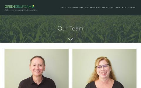 Screenshot of Team Page greencellfoam.com - Team - captured July 24, 2018