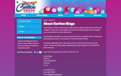 Screenshot of About Page carltonbingo.com - About Us - Carlton Bingo - captured Oct. 2, 2014
