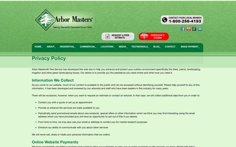 Screenshot of Privacy Page arbormasters.com - Privacy Policy - Arbor Masters Plant and Tree Services - captured Jan. 19, 2016