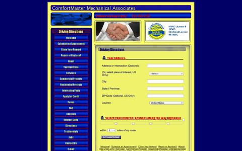 Screenshot of Maps & Directions Page comfortmasternc.com - ComfortMaster Heating and Air Conditioning - captured Oct. 2, 2014