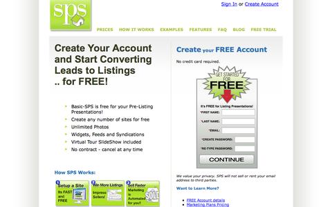 Screenshot of Trial Page singlepropertysites.com - Create your Free Account now and start marketing real estate with SPS - captured Oct. 1, 2014