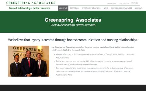 Screenshot of About Page greenspringassociates.com - About Us | Greenspring Associates - captured Oct. 29, 2014