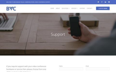 Screenshot of Support Page broadband-vc.com - Get Support - Broadband Visual - captured Oct. 6, 2018