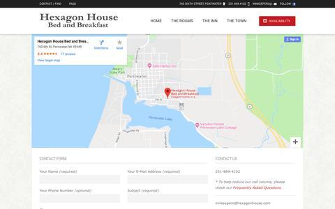 Screenshot of Contact Page hexagonhouse.com - Contact Information & Map // The Hexagon House - captured Dec. 4, 2018