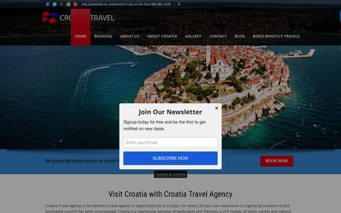 Screenshot of Home Page croatiatravel.com - Croatia Travel Agency  Croatia Travel Agency - Flights and Tours - captured Feb. 1, 2016