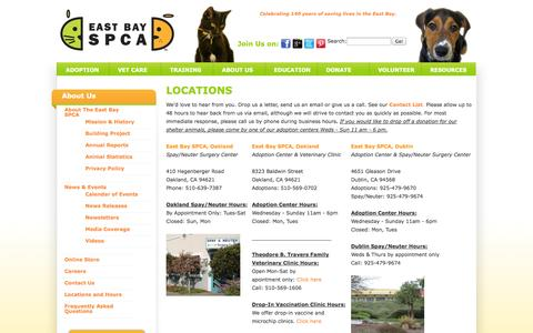 Screenshot of Locations Page eastbayspca.org - East Bay SPCA - captured Sept. 27, 2014