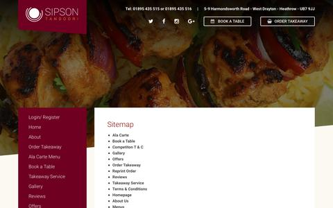 Screenshot of Site Map Page sipsontandoori.com - Sitemap – Sipson Tandoori Indian Restaurant - captured Oct. 21, 2017