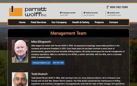 Screenshot of Team Page pwinc.com - Parratt-Wolff - captured Sept. 27, 2018