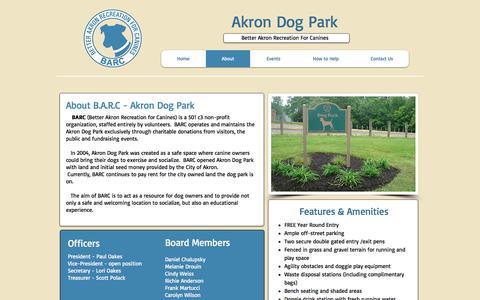 Screenshot of About Page akrondogpark.org - BARC | Akron Dog Park - captured Oct. 10, 2017