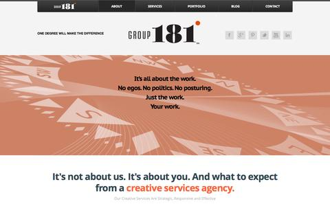 Screenshot of About Page group181.com - About Our Creative Services In Orange County, California « Group181 - A Full Service Creative Advertising and Branding Agency - captured Oct. 3, 2014